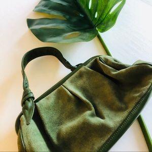 Nine West leather and suede green shoulder bag